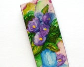 Hand Painted Purple Flowers In Vase Watercolor Pendant With Free Cord