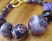 Purple Gemstone Bracelet - Amethyst - Violet - Gold - Funky Gem Jewelry