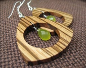 Zebrawood and Jade Triangle Hoops