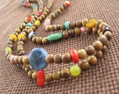 Rainbow Love - Long Wood and Stone Necklace
