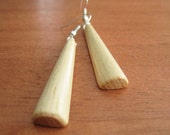 Wood Earrings - Hickory - Made from Drumsticks - Musical Jewelry - Long Simple - Light Color - Beige - Earthy - Natural