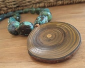 Turquoise Necklace - Jewelry - Branch Pendant - Chunky - Copper