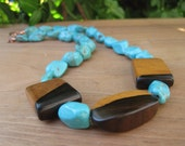 Turquoise Nuggets and Wood Necklace - Statement Jewelry - Copper - Luxury Rich Bohemian Wood Jewelry - Robins Egg Blue - Bold Wooden