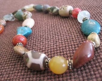 Funky Gemstone Necklace - Semi Precious - Texture - Gold - Yellow Brown Orange Turquoise - Rich - Sale - Summer Bohemian Crystal Jewelry