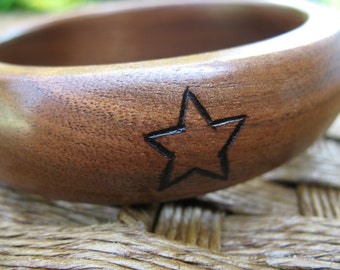 Wood Bangle - Canadian Walnut - Wood Burned Simple Design