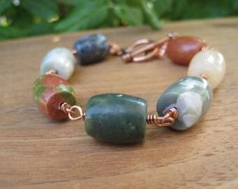 Sale - Stone Bracelet - Gemstone - EarthyJewels - Fun Jewelry - Funky Jewellery - Summer Fashion - Copper Wire Wrapped - Orange Green Yellow