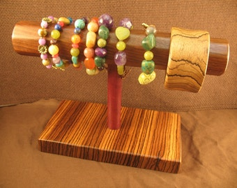RESERVED - CUSTOM ORDER -  Exotic Wood Bracelet Stand - Display - T Bar - Jewelry Holder - Woodworking - Exotic Wood