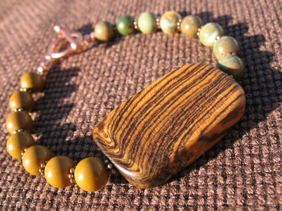 Gemstone Bracelet - Wooden Jewelry - Earthy - Brown Green - Spring - Green - Brown - Copper - Large - Sale