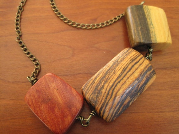 CUSTOM NECKLACE - The Trio - Handmade Wood Beads - Brass Chain Necklace - Wooden