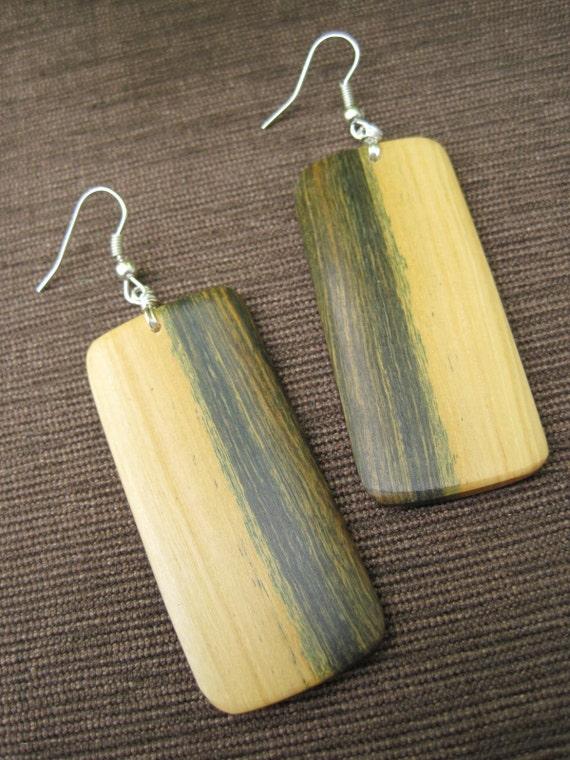 Natural Wood Earrings - Lignum Vitae - Tree of Life - Yellow Green - Large - Rectangle - Unique Grain - Sapwood - Fun Jewelry
