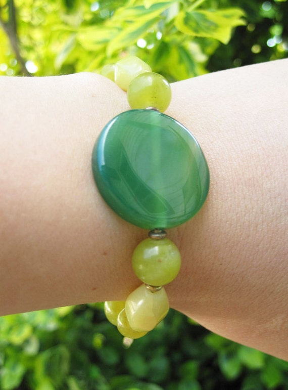 Gemstone Bracelet  - Spring Summer Jewellery - Gem - Stone Beaded - Monochromatic - Gold - Sale