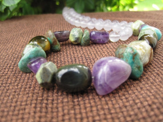 Stone Necklace - Mystical - Jungle - Purple Green Brown - Turquoise - Lavender - Funky Jewelry - Sale - Jungle - Summer