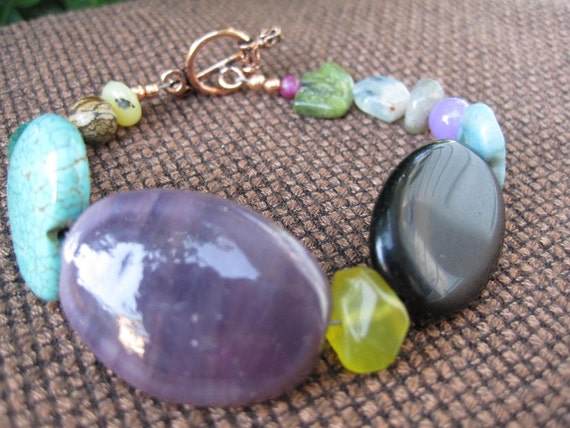 Random Stone Bracelet - Purple Black Turquoise - Copper - Funky Colorful Jewelry - Summer Fashion - Colorful - Heart - Eclectic - Green