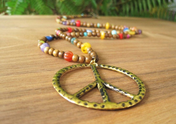 Rainbow Necklace - Peace Pendant - Stone and wood - Colorful and Funky - Hippy - Gold - Boho - Colorful - Fall Fashion - Sale