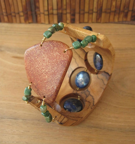 Cuff Bracelet - Wood and Stone - Lapis - Bark - Blue and Green - African Zebrawood