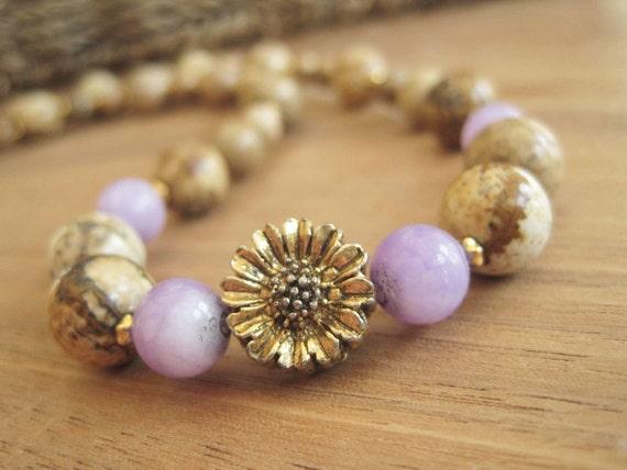 Gemstone Necklace - Stone - Brown Beige Purple - Daisy - Flower - Gold - Pretty - Canada - Flower - Brown- Golden