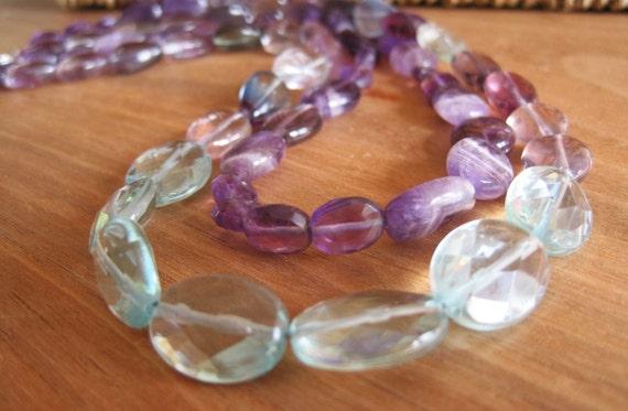 Majestic - Fluorite, Amethyst and Quartz double necklace - Rich - Purple Blue