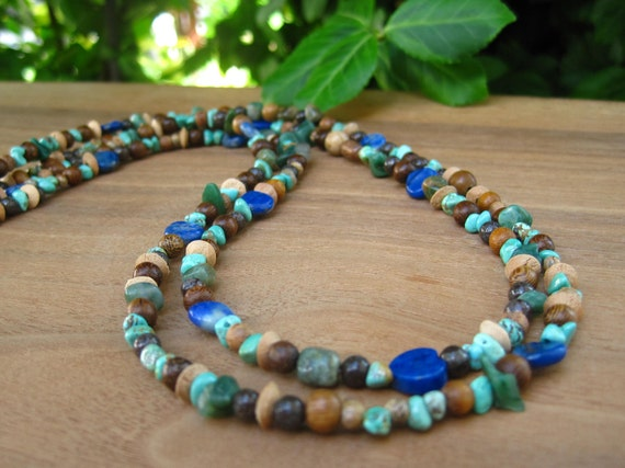 Double Strand Earthy Stone and Wood Necklace - Green Blue Turquoise Brown