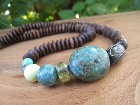 Earthy Gemstone Necklace - Brown Turquoise Green -Wood - Medium - Natural - Love our Earth