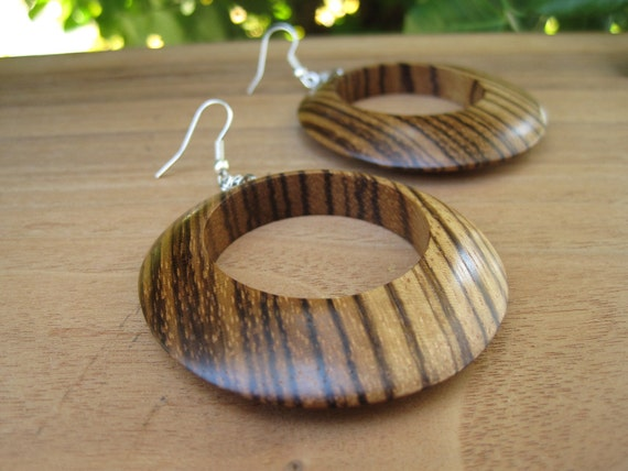 Large Wood Hood Earrings - Zebrawood - African - Exotic - Statement - Earthy Jewelry - Woodworking - Natural - Stripe - Brown