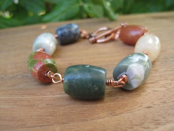 Stone Bracelet - Gemstone - EarthyJewels - Fun Jewelry - Funky Jewellery - Summer Fashion - Copper - Wire Wrapped - Orange Green Yellow