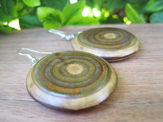 Wood Earrings - Branch Jewelry - Large and Oval - Sumac - Green - Target - Spiral - Grain -3D - Earthy - Natural