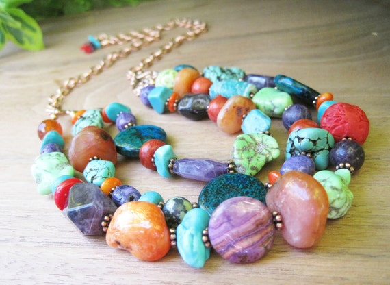 Statement Gemstone Necklace - Big Bold Bright - Colorful Jewelry - Multi Strand - Long - Copper Chain - Rich - Luxurious - Turquoise