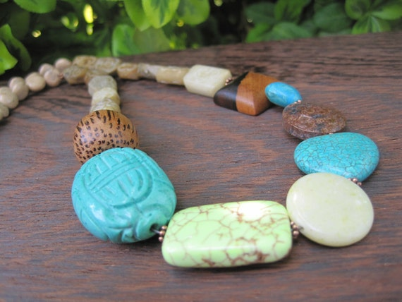 Stone Necklace - Beige - Turquoise - Brown - Lime Green - Chunky Jewelry - Statement Piece - Summer Fashion - Wood - Heart -  Copper - Sale