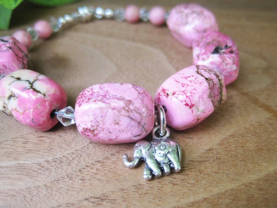 Hot Pink Bracelet - Stone Jewelry - Elephant -  Funky - Summer Fashion - Girly -  Canada - Ontario - Statement