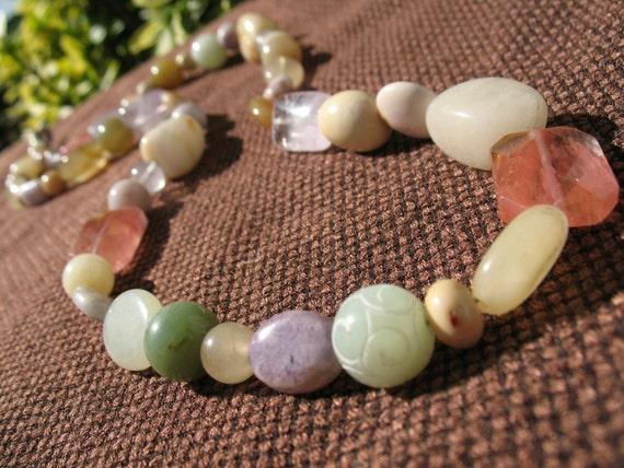 Gemstone Necklace - Pastel - Summer Fashion Jewelry - Mint - Pink - Lavender - Beige - Light - Sale - Chunky - Statement - Neutral -