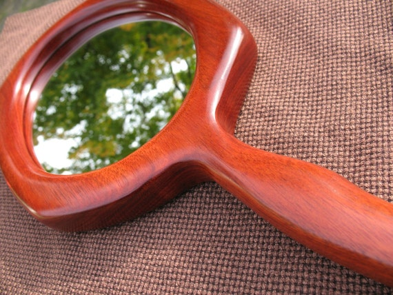 Wood Hand Mirror - Curvy - Red - Woodworking - Great for Personal Use or for Craft Show Display - Natural Earthy