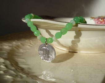 Green and Cream Beaded Necklace with Magnolia Pendant