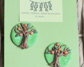 Two Blooming Trees - polymer buttons