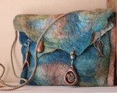 Teal and brown wet-felted purse with hand-made polymer clay charms