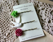 STORE CLOSING SALE Handmade Flower Bobby Pin Set - Holly Berry
