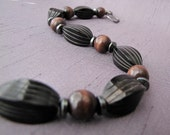 Wood, Black Horn & Hematite Bracelet - For Men