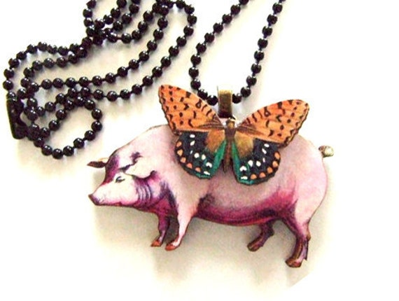 Pig with a autumn  colored butterfly necklace  111