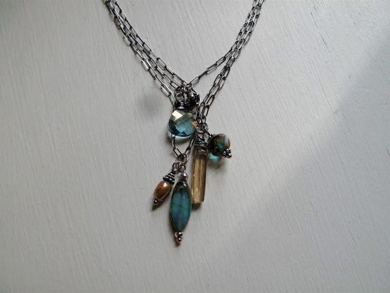 Sterling Aqua Crystal Briolette Necklace