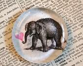 Elephant Magnet - Jumbo Glass Magnet - Baby Elephant - Fridge Magnet - Favor - Party Favor - Cute Elephant - Animal Magnet