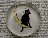 Black Cat Magnet - Jumbo Glass Magnet Cat on Moon - Halloween Kitty Magnet
