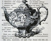 Teapot Print on Vintage Cookbook Page - 5 x 7  Book Page Print of Teapot