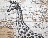 Giraffe Print Map Art - Map of Africa - 5 x 7 Giraffe Map Print Giraffe Art - Safari Art
