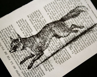 Fox Print on Vintage French Book Page - 5 x 7 Running Fox