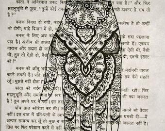 Mehndi Hand Print on Hindi Book Page - 5 x 7