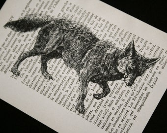 Fox Print  on Vintage French Book Page - 5 x 7 The Stalking Fox