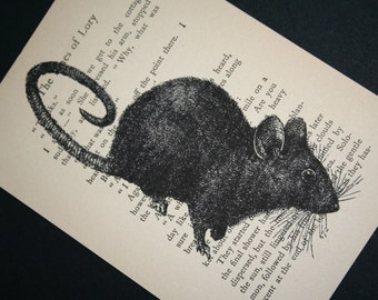 Mouse Print on Vintage Book Page - 5 x 7