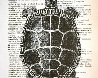 Turtle Print on Italian-English Dictionary Text - 5 x 7