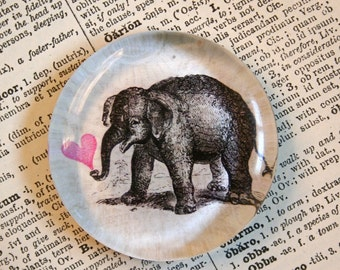 Elephant Magnet - Jumbo Glass Magnet - Elephant Love Heart for Valentines Day