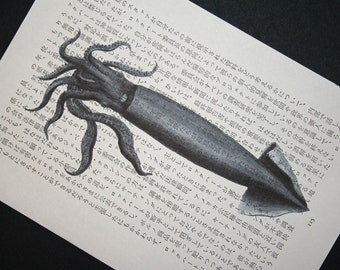 Squid Print on Vintage Japanese Book Page 2 - 5 x 7
