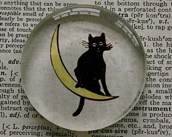 Black Cat Magnet - Jumbo Glass Magnet Cat on Moon - Halloween Kitty Magnet